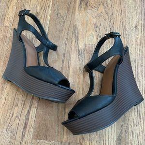 Candie's black wedge platform heels, 9.5